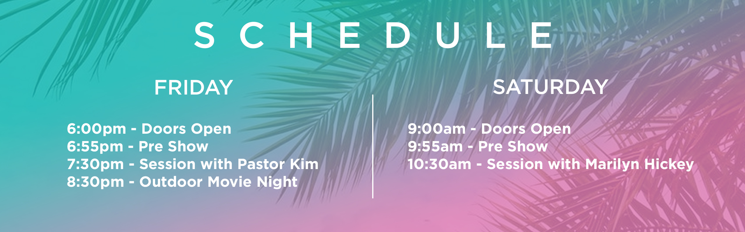 Heaven On Earth Schedule