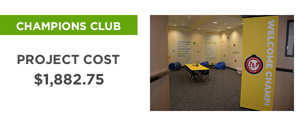Church on the Rock's Champions Club - Project Cost: $1,882.75